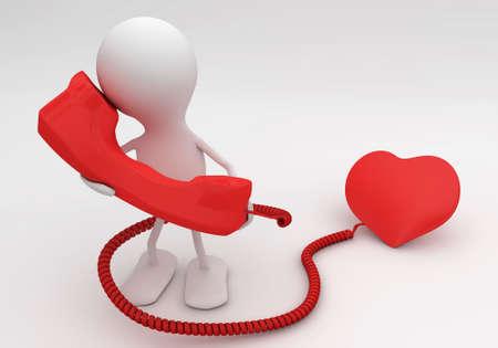 listen: Listen to your heart. 3d rendered love concept