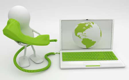 fixed: Hombre hablando por tel�fono conectado a Internet. Render 3D. Foto de archivo