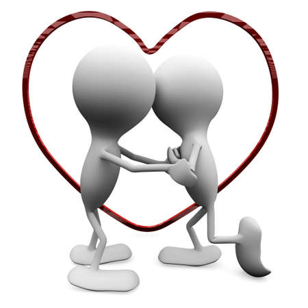A couple in love kissing. 3D love concepts. Stock Photo - 8616690
