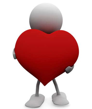 generoso: Hombre con un gran coraz�n generoso. 3D de conceptos de amor. Foto de archivo