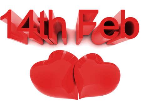 14th: 14 de febrero, d�a de San Valent�n de St. Conceptos de render 3D