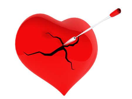 heartbreaker: Un coraz�n rojo roto con una flecha