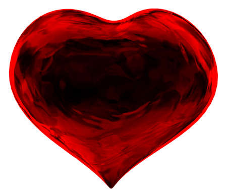 fractals: A red heart shaped fractals. Abstract Love. Stock Photo