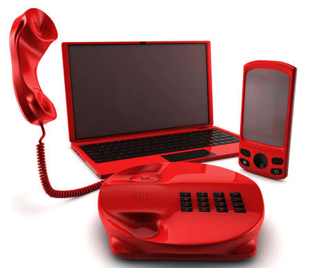 A bundle of three main telecommunication services Stock Photo - 8820071