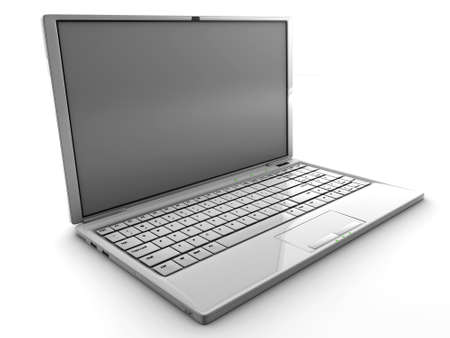 White 3D detailed render laptop isolated with a blank screen