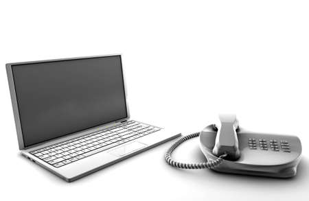 A bundle of telco services isolated on white Stock Photo