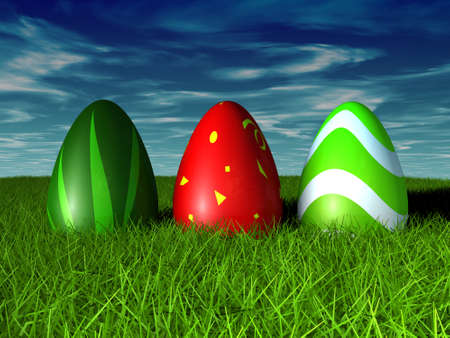 Easter Eggs in grass on a blue sky. 3D render concept Stock Photo