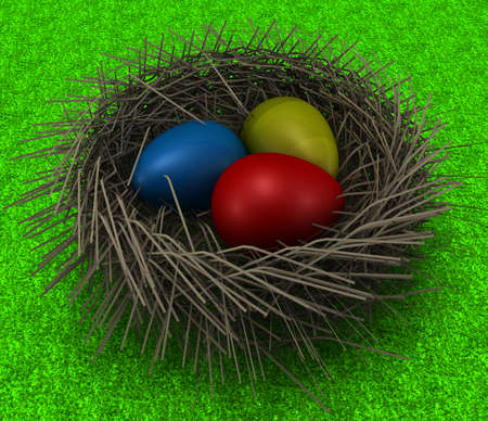 greenfield: Easter Eggs in a Nest on grass.3D render of a decoration motive. Stock Photo