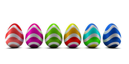 Easter eggs isolated on white. 3D render Stock Photo