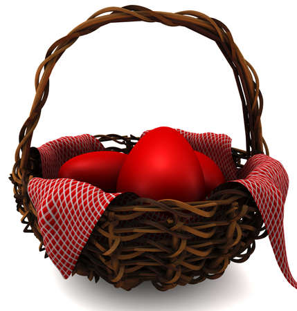 Easter eggs in a basket isolated on white. 3D render