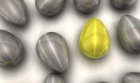 An outstanding golden egg among silver ones. 3D render concept