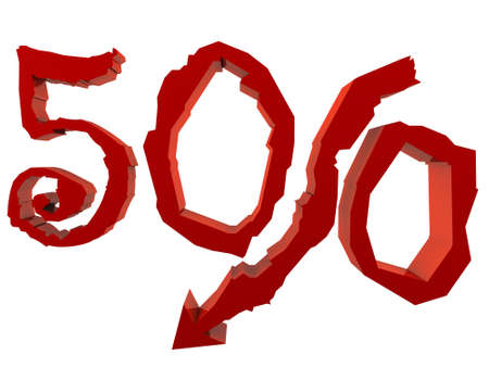 A drop down in percent. Promo discount. Sale. 3D render concept