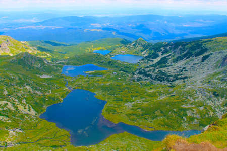 Panorama of mountain lakes in the spring