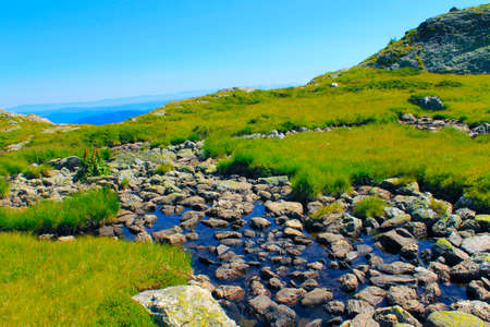 Spring river running in the high mountains in a sunny day in the summer Stock Photo