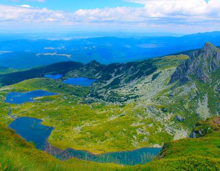 Panoramic vew of lakes in the high mountain in Bulgaria