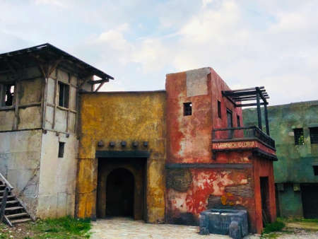 old fashioned grungy style building roman times vintage concept Stock Photo