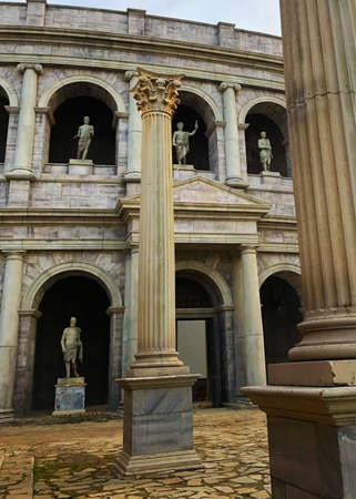 old roman style building background antique Stock Photo