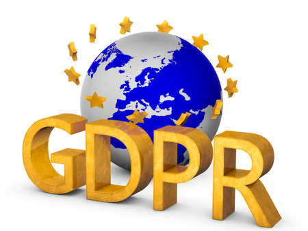 Golden GDPR 3D concept isolated on white with globe and golden european union starts
