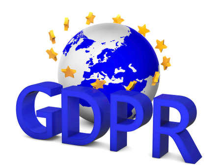 GDPR 3D concept isolated on white with globe and golden european union starts