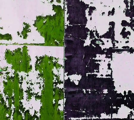 old aged grungy wall with cracked black and green paint texture background close Stock Photo