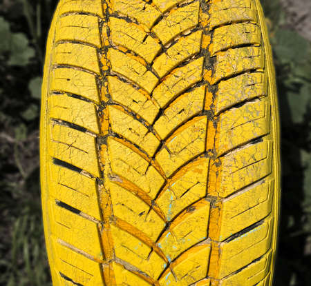 yellow painted car tire in a green playground garden outdoors close top shot in a sunny day
