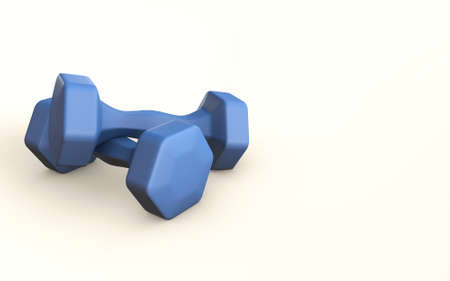 Blue Dumpel training fitness 3d rendered concept isolated on white