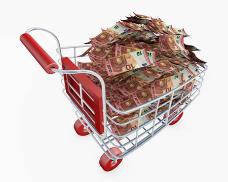 Shopping cart full of money euro banknotes 3d rendering isolated on white