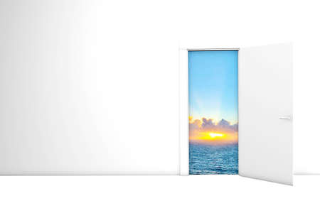 Hope Concept Light and sea and sun seen through Opened Door 3d rendering