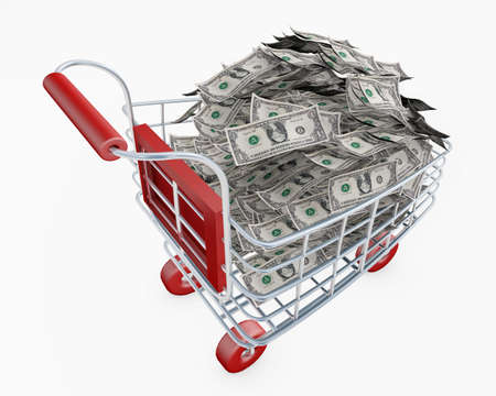 Shopping cart full of money us dollars 3d rendering isolated on white 스톡 콘텐츠