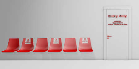 Social Distancing Concept for indoor public places and waiting rooms 3d rendering