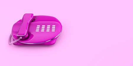 Fixed Phone close-up pink color contacted 3d concept 3d rendering isolated design