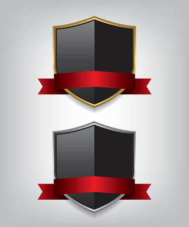 Shield gold and silver with red ribbon illustration Vecteurs