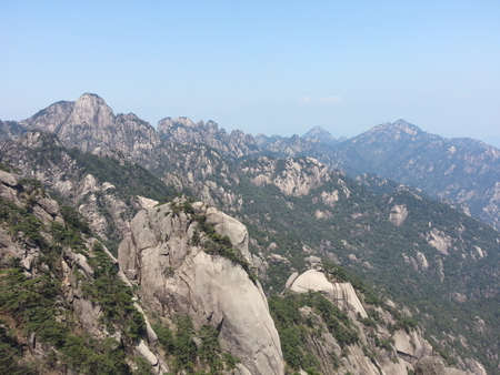 climbed: climbed Mount Huangshan in April 2015 Stock Photo