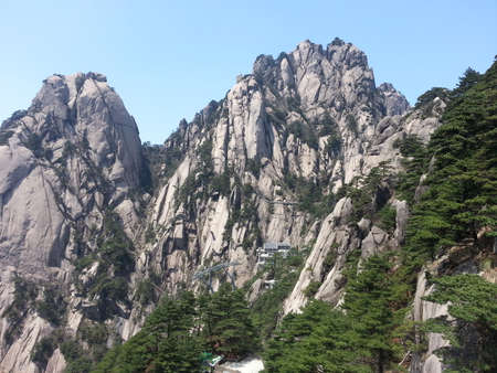 climbed: climbed Mount Huang in April 2015 Stock Photo