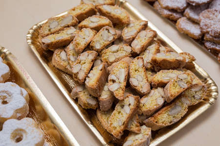close up typical genoese biscuits canestrelli and cantucci