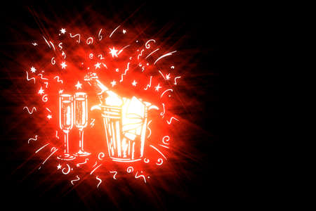 illustration stylized holiday symbols on black background