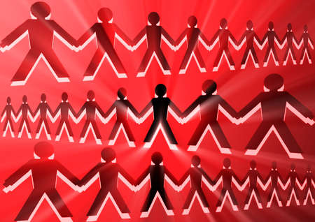 people with people joined together Stock Photo