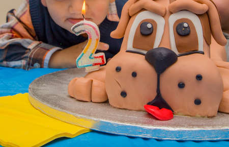 Two Year Birthday Cake In The Shape Of A Dog Stock Photo Picture