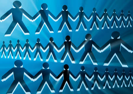 conceptual image with silhouettes of people joined together Stock Photo