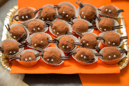 horizontal image with detail of a tray with chocolate pastries in the shape of small spiders prepared for the halloween party