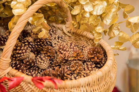 horizontal image with detail close up of a wicker basket decorated with golden leaves and with pine cones inside