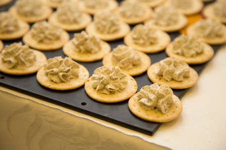 horizontal image with detail of open sandwiches with walnut sauce Banco de Imagens