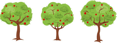 customizable: A set of 3 pre-made, but customizable trees. Everything separated onto different layers to easily convert apple trees to non-apple trees. Reusable elements allow for easily creating many more trees from the basic elements of these.