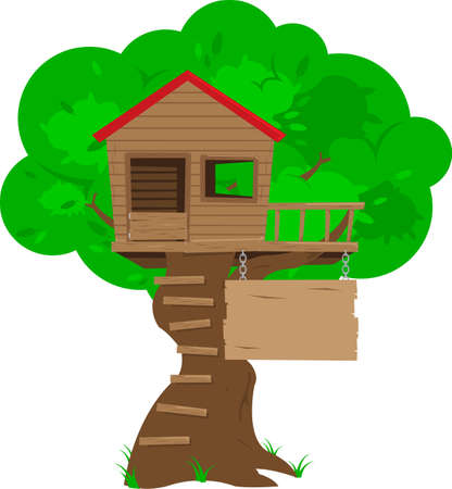 A colorful cartoon tree house with a blank sign space for copy. All objects in the illustration (ladder, tree, sign, etc.) are grouped and layered for easy editing. Illustration