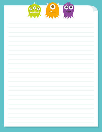 Cute little floating alien monsters at the top of a piece of colorful stationery. Stock Illustratie