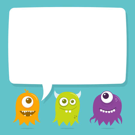 Three little cute flying aliens with a cartoon speech bubble above their head for copy. The file is easily editable with global color swatches for easy recoloring of the artwork.