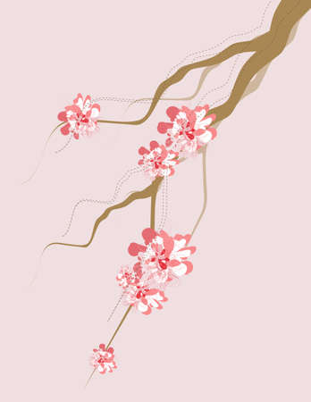 Some tree branches with artistic flair with some blossoms. All swatches are global, makes for easy color swapping to whatever you would like. All objects grouped and separated out by layers. Stock Illustratie
