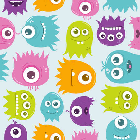 preference: A seamless background pattern of happy, floating, cartoon, vector aliens. The file is easily editable, with everything on separate layers. It also contains global color swatches for quick recoloring of the art to your preference.