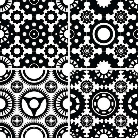 A collection of 4 seamless gear patterns that tile/repeat nicely. Included in the zip file are each of the 4 patterns saved off as an individual file for easy use. Stock Illustratie