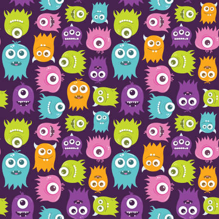 color swatches: A seamless background pattern of happy, floating, cartoon, vector aliens.  The file is easily editable, with everything on separate layers. It also contains global color swatches for quick recoloring of the art to your preference. Illustration